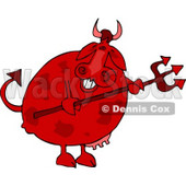 Male Devil Cow Holding a Pitchfork Clipart © Dennis Cox #4525