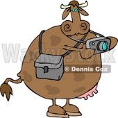Photographer Cow Taking Photographes with a Digital Camera Clipart © Dennis Cox #4527