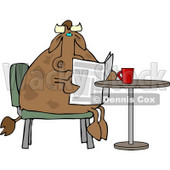 Male Cow Reading the Daily Newspaper with Coffee Clipart © Dennis Cox #4530