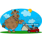 Cow Mowing Lawn On a Hot Summer Day Clipart © djart #4531