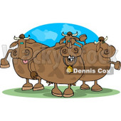 Three Goofy Cows On Pasture Clipart © Dennis Cox #4532