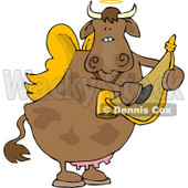 Cupid Angel Cow Playing a Small Harp Clipart © Dennis Cox #4533