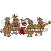Female Cows Playing in a Music Band Clipart © Dennis Cox #4535