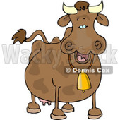 Cow Wearing a Bell Clipart © Dennis Cox #4536
