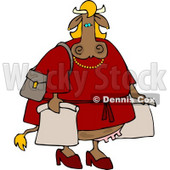 Female Cow On a Shopping Spree Clipart © Dennis Cox #4538