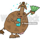 Hot Cow Drinking Water and Using a Foldable-fan Clipart © Dennis Cox #4539
