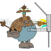 Cow Electrician Getting Shocked with Electricity Clipart © djart #4540