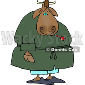 Sick Male Cow Using a Common Mercury Thermometer Clipart © djart #4542