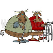 Old Cows Walking Together Clipart © djart #4544