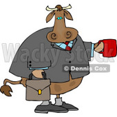 Business Cow Carrying a Briefcase and Holding a Cup of Coffee Clipart © Dennis Cox #4548