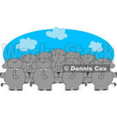 Anthropomorphic Elephant Herd Standing Together and Holding Hands Clipart © djart #4549