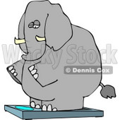 Obese Elephant Standing On a Weight Scale Clipart © Dennis Cox #4551