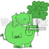 Anthropomorphic Green Elephant with Shamrock Balloons On St. Patrick's Day Clipart © Dennis Cox #4552