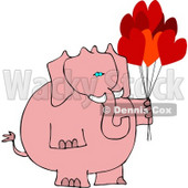 Anthropomorphic Pink Elephant with Heart Balloons On Valentine's Day Clipart © Dennis Cox #4554