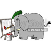 Anthropomorphic Elephant Painter Painting a Picture On Canvas Clipart © djart #4555