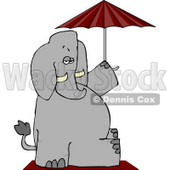 Anthropomorphic Elephant Sitting Under an Umbrella Clipart © Dennis Cox #4557