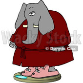 Anthropomorphic Elephant Wearing Bathrobe and Mouse Slippers While Weighting In On a Scale Clipart © Dennis Cox #4558
