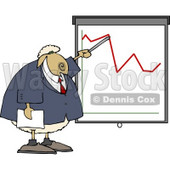 Anthropomorphic Sheep Business Person Pointing at a Graph Which Demonstrates a Drop Clipart © Dennis Cox #4566