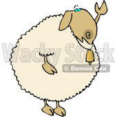 Anthropomorphic Sheep Waving Hand Goodbye or Hello Clipart © Dennis Cox #4569