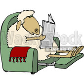 Anthropomorphic Sheep Reading a Newspaper in a Recliner Clipart © Dennis Cox #4571