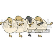 Dancing Anthropomorphic Sheep Chorus Clipart © Dennis Cox #4572