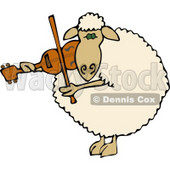 Anthropomorphic Sheep Violinist Playing a Violin Clipart © Dennis Cox #4574