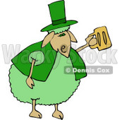 Green Anthropomorphic Sheep Drinking Beer On St Patrick's Day Clipart © Dennis Cox #4575