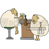 Anthropomorphic Sheep Drinking Beer Together in a Bar Clipart © Dennis Cox #4578