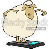 Anthropomorphic Fat Sheep Weighing Itself On a Scale Clipart © djart #4579