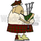 Scottish Anthropomorphic Sheep Playing a Bagpipe Clipart © Dennis Cox #4580