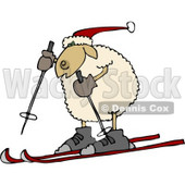 Anthropomorphic Sheep Snow Skiing Clipart © Dennis Cox #4581