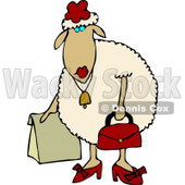 Anthropomorphic Female Sheep (ewe) Shopping Clipart © Dennis Cox #4583