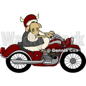 Anthropomorphic Sheep Riding a Motorcycle Clipart © Dennis Cox #4584