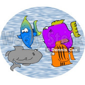 School of Saltwater Fish Clipart © Dennis Cox #4589