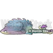 Young Mythical Dragon Laying On the Ground Clipart © djart #4594