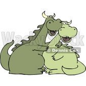 Happy Dragon Couple Hugging Each Other Clipart © Dennis Cox #4595