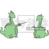 Anthropomorphic Dragon Pointing at a Black Poster Board Clipart © djart #4596