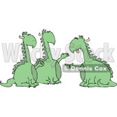 Anthropomorphic Dragon Accusing Two Dragons of Doing Something Wrong Clipart © Dennis Cox #4600