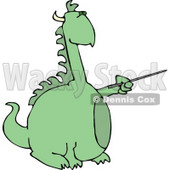 Anthropomorphic Reptilian Dragon Pointing a Pointer Clipart © Dennis Cox #4601