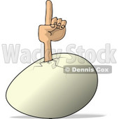 Concept of an Egg Pointing Finger Up Clipart © Dennis Cox #4604