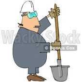 Royalty-Free (RF) Clipart Illustration of a Construction Worker Guy Digging With a Shovel © djart #46045