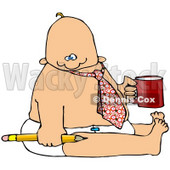 Royalty-Free (RF) Clipart Illustration of a Business Baby In A Tie And Diaper, Holding A Pencil And Coffee, Symbolizing Immaturity © djart #46046