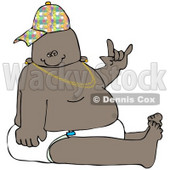 Royalty-Free (RF) Clipart Illustration of a Hip Hop Or Gangster Baby Wearing A Hat And Diaper And Gesturing © Dennis Cox #46048