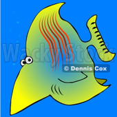 Royalty-Free (RF) Clipart Illustration of a Wary Yellow Saltwater Fish In The Blue Sea © Dennis Cox #46049