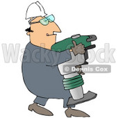 Royalty-Free (RF) Clipart Illustration of a Construction Worker Guy Carrying A Jumping Jack Compactor © djart #46050