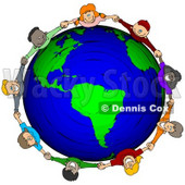 Royalty-Free (RF) Clipart Illustration of a Circle Of Worldwide Children Holding Hands Around A Globe © Dennis Cox #46051