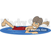 Royalty-Free (RF) Clipart Illustration of a Happy Boy Swimming On Summer Vacation © djart #46052
