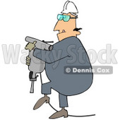 Royalty-Free (RF) Clipart Illustration of a Construction Worker Guy Carrying A Jackhammer © Dennis Cox #46053