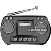 Old Potable Boombox Stereo System Clipart © Dennis Cox #4610