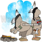 Two Native American Indians Standing Alertly Beside a Campfire Clipart © Dennis Cox #4614